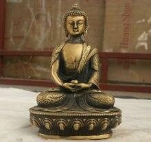 Elaborate Chinese Folk Culture Handmade Old Brass Statue Sakyamuni Buddha Sculpture