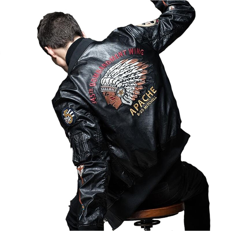 Autumn And Winter Classic Brand Men Bomber PU Leather Jackets Indian Chief Embroidered Slim Jacket Moto Biker Coats
