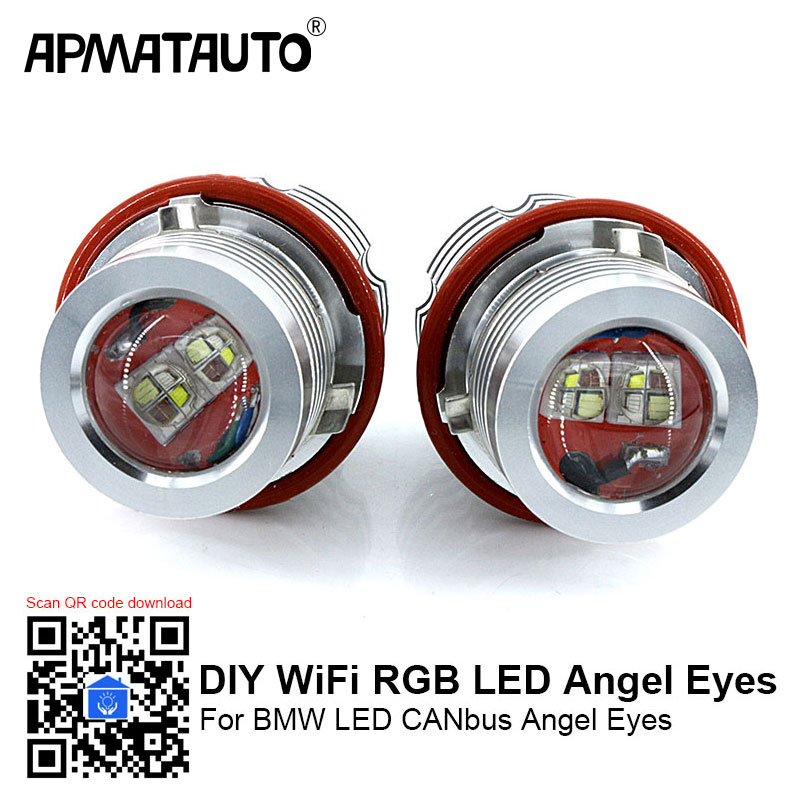 2x Error Free DIY Wifi RGB 60w LED Angel Eyes Marker Lights Bulbs For BMW E39 E53 E60 E61 E63 E64 E65 E66 E87 525i 530i 545i free shipping 1 set 2x 120mm 2x 128 mm f30 f35 crystal led angel eyes for bmw