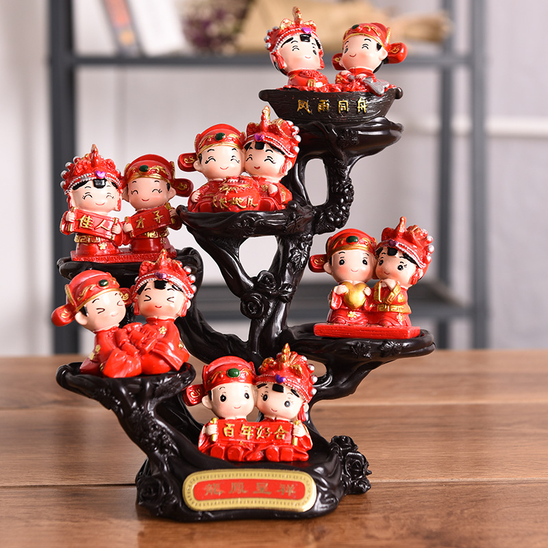 Resin Handicraft Chinese-style Wedding Doll Home Decoration Creative Chinese Wind Decoration Wedding Room Suit DollResin Handicraft Chinese-style Wedding Doll Home Decoration Creative Chinese Wind Decoration Wedding Room Suit Doll