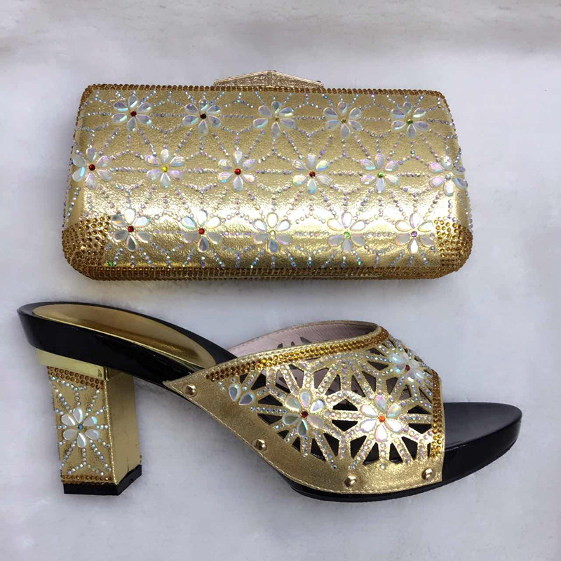 Very Nice Gold Color Italian Shoes With Matching Bags Yz31 Hot Ing African Women And Set For Young Lady