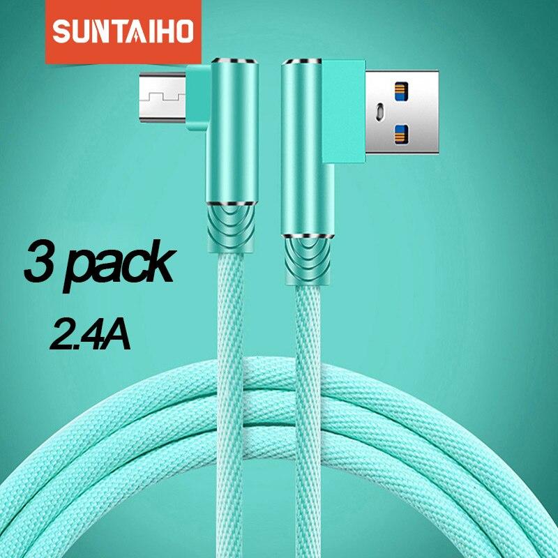 Suntaiho micro cabo usb 90 graus cabo usb para samsung a8 a7 2018 2.4a carregamento rápido para huawei para redmi nota 5 tablet cabos