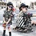 5-14Years Velho Crianças Esfriar Casaco Longo Turn-down Outerwear Crianças Primavera/Outono Moda Casaco Meninas Jaqueta Camo