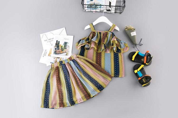 Lány ruházat készlet 2019 nyári új csíkok színes aranyos - Gyermekruházat - Fénykép 3