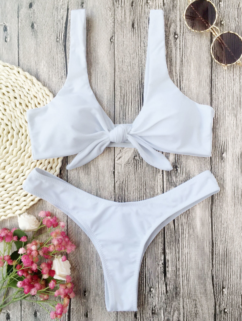 2018 New Sexy Women Swimsuits Brief Solid Pop Bow Push Up Bra Bandage Triangle Top Bikini Set Swimsuit Swimwear
