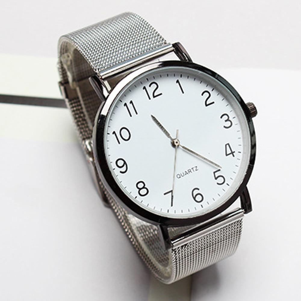 Unisex Simple Business Fashion Steel Strip Quartz Wrist Watch Watch Men Fashion Sport Quartz Clock Mens Watches Brand Luxury F30