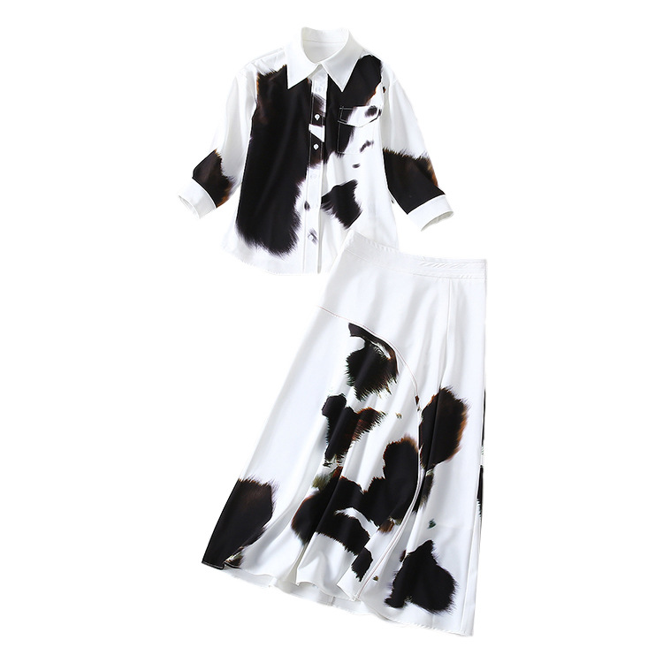 Shirt with Ink Printing In The Same Style Territorial Waters Mid long Half skirt Goddess Suit with High Waist Big Pendulum 2019 in Women 39 s Sets from Women 39 s Clothing