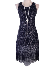 PrettyGuide Women 1920s Vintage Sequin Paisley Racer Back Tassels Hem Midi Cocktail Flapper Dress Plus Size Gatsby Dress Costume