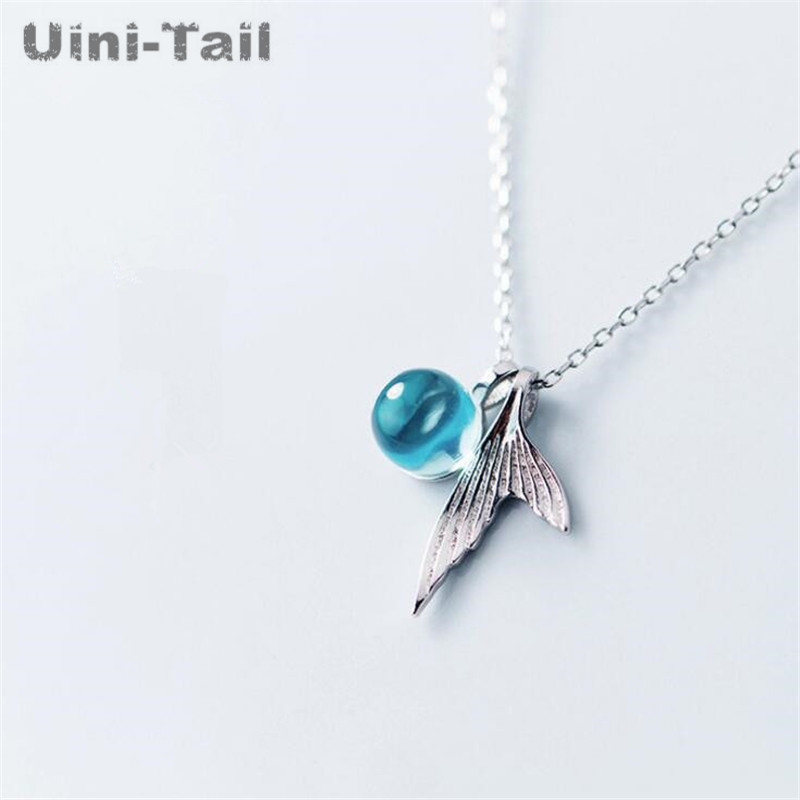 Uini-Tail new 925 sterling silver mermaid foam necklace Korean crystal fashion temperament wild cute fishtail necklace GN334