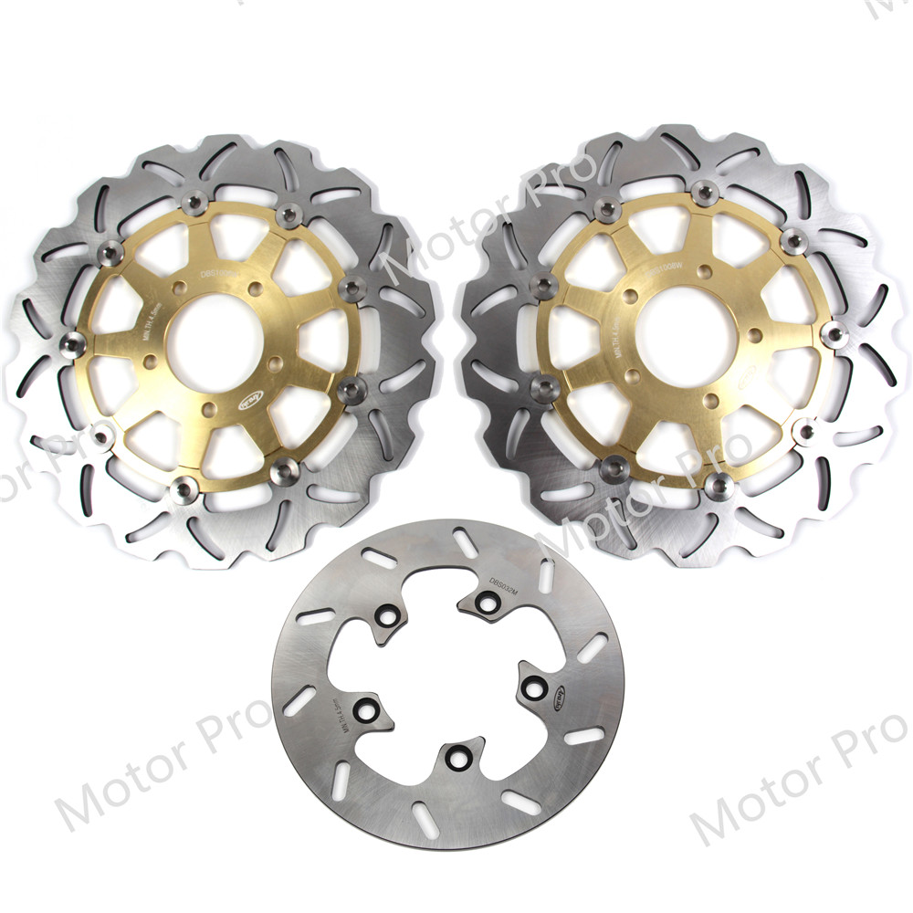 For Suzuki GSXR 750 2004 2005 Front Rear Brake Disc Disk Rotor Kit Motorcycle GSX R GSX-R 600 1000 2003 03 04 GOLD CNC Aluminum image
