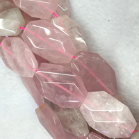 Wholesale Natural Genuine Pink Crystal Rose Quartz Hand Cut Faceted Nugget Free Form Loose Big Beads