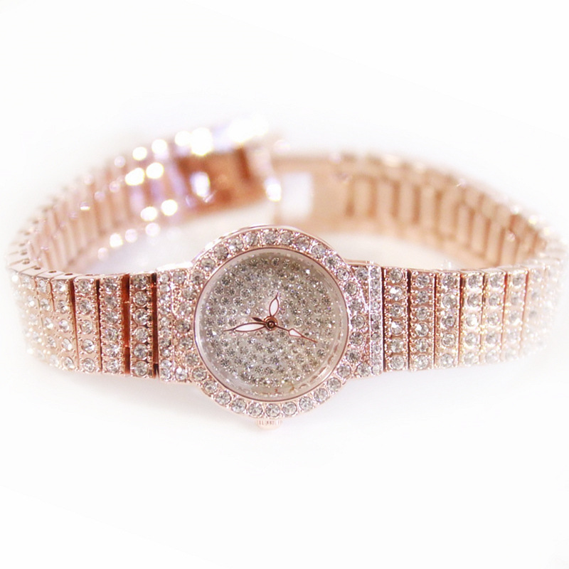 Rose Gold Women Brand Watch Full Diamond Bracelet Silver Watch Lady Luxury Dress Jewelry Watch Rhinestone Bling Crystal Bangle spring big sale brand bs luxury 14k gold diamond women watch lady gold siliver dress watch rhinestone bangle bracelet