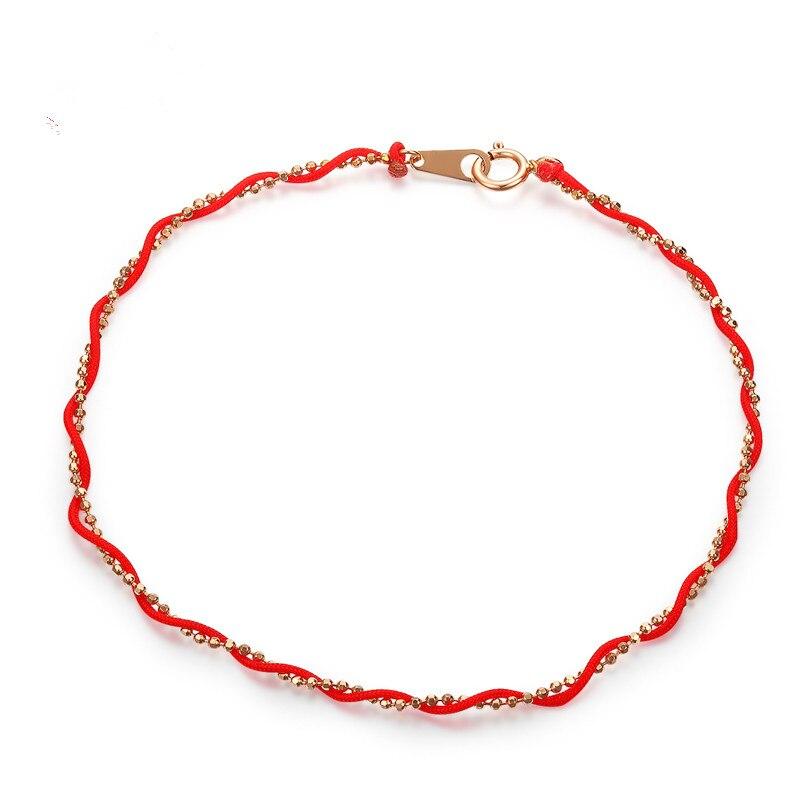 VOJEFEN minimalisme 18 K or Rose Bracelet à breloques & corde rouge bonne chance symbole Bracelet bijoux fins bohême Double Bracelets