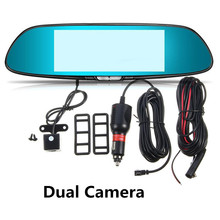 "Universal 7"" inch 1080P 170 Wide Touch Screen Dual Lens Car Dash Cam DVR Rearview Mirror Video Camera Recorder 1200Mega Pixels"