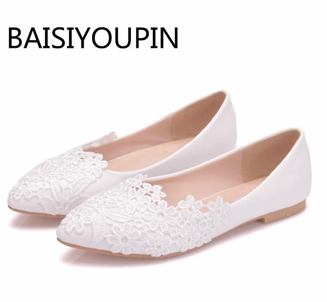 Ballet Flats White Lace Flower Wedding Shoes Woman Flat Casual Shoes Pointed Toe Women Dress Princess Bride Shoes Plus Size 43