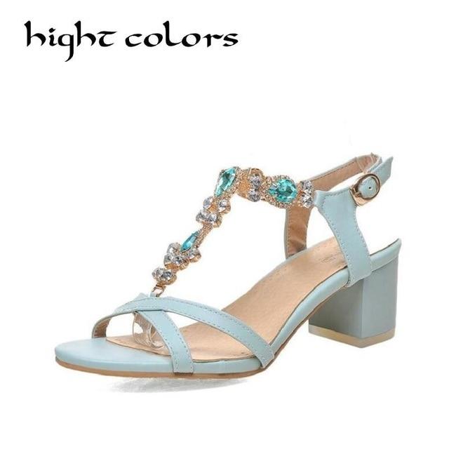 2018 Summer Luxury Brand Women Thick Heel Sexy Gladiator Sandals Open Toe  Elegant Rhinestone Sandal Ladies Work Casual Shoes10.5 bffa1886b1d1