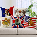 Fashion Simple Animal Series Textil British teckel  Dog Horse Napoleon Cushion Square Valentine Day Gift Handmade Throw Pillows