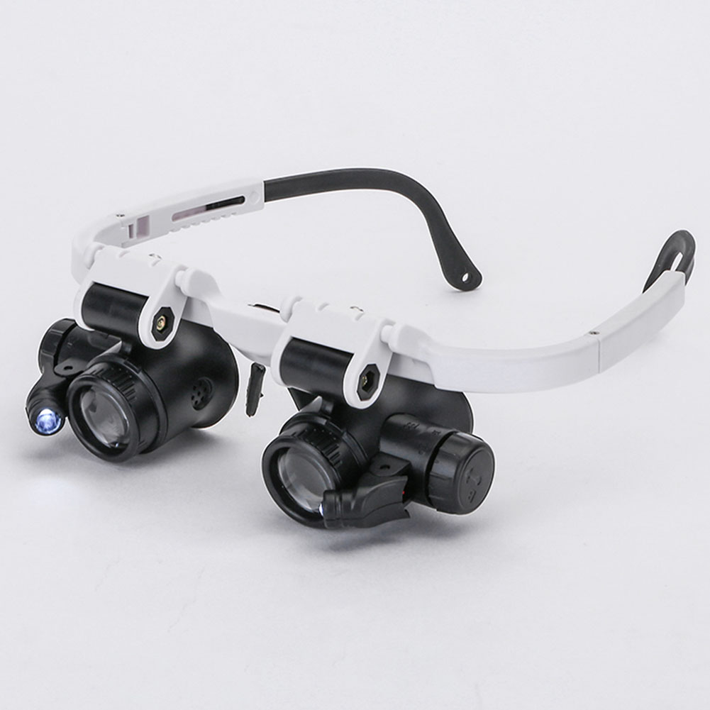 Tool Loupe Magnifier Measurement 8X 23X -mounted ABS Lens Watch Repair Portable Double Eye Glasses Durable Retractable Led