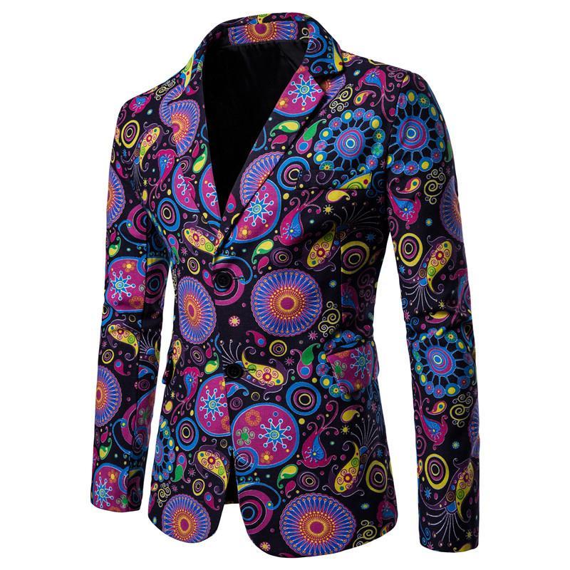 Mens Suit Jacket Blazers National style Cotton Linen Tuxedos Casual Floral Suits slim fit New