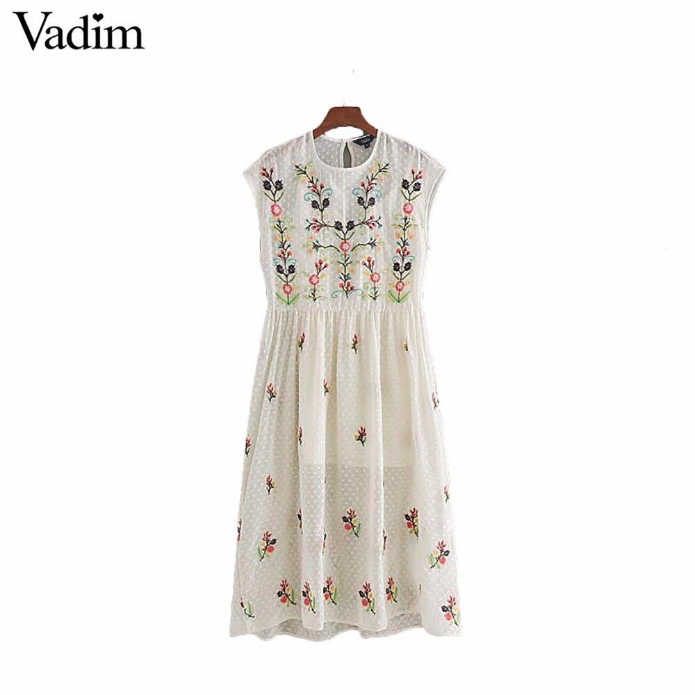Vadim women floral embroidery chiffon dress female casual