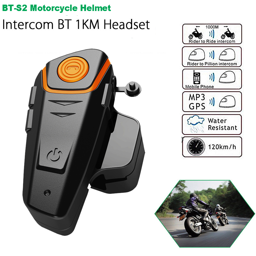 2019 BT S2 Pro Handsfree Motorcycle Helmet Intercom Motorbike Wireless Bluetooth Headset Waterproof BT Interphone with