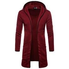 Mens Novo Estilo de Outono Inverno Casaco Quente Nova Moda Longo Casaco Casuais Outwear Sólida Cardigan