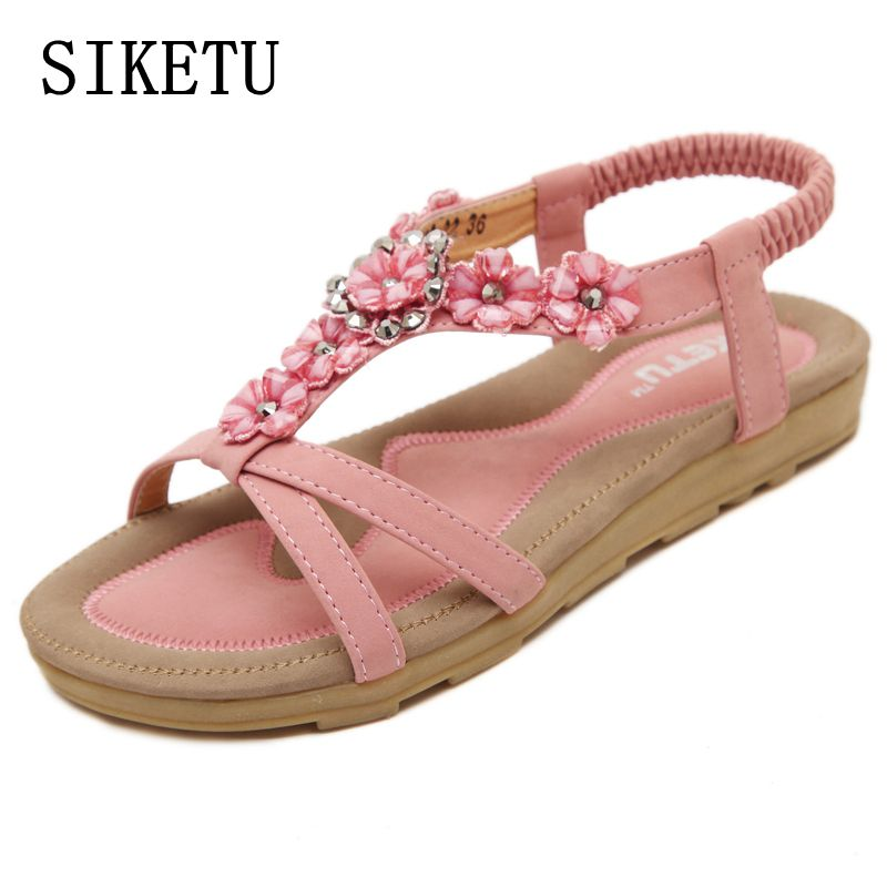 все цены на SIKETU Summer new sweet woman sandals Bohemia flower fashion flat sandals large size soft bottom casual comfortable woman shoes онлайн