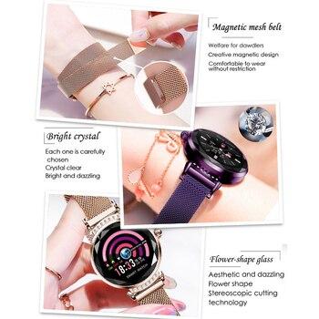 SCOMAS luxe femmes montre intelligente diamant verre fréquence cardiaque moniteur de pression artérielle Fitness Tracker pour iOS Android Smartwatch 2