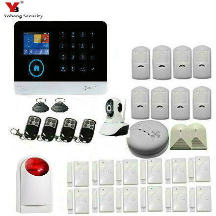 YoBang Security Wrieless WiFi GSM GPRS TFT Color Home Alarm Security System Wireless Alarm Smoke Detector For IOS Android APP.