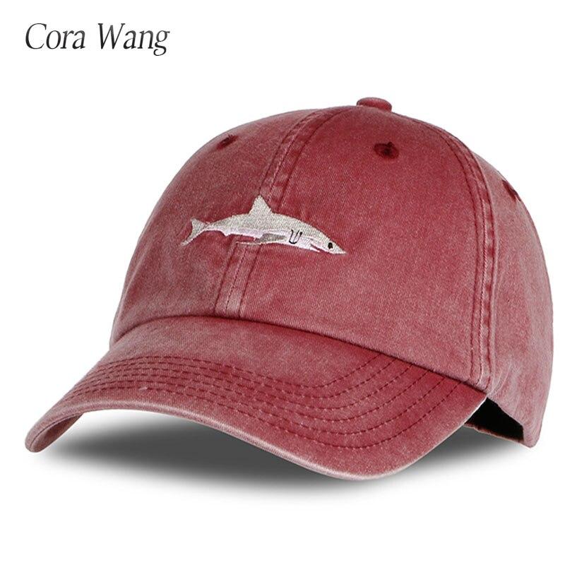 Gorras de béisbol de casquetas lavadas de algodón 100% de Cora Wang sombreros de hombre bordado de tiburón sombrero de papá para mujeres gorras planas snapback bosco