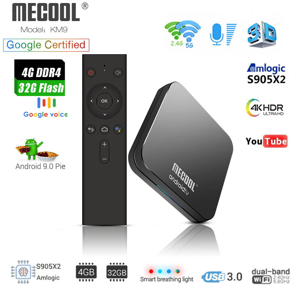 MECOOL KM9 ATV Android 9.0 Smart TV BOX Amlogic S905X2 Quad core 4G DDR4 32G EMMC ROM décodeur 4 K 3D H.265 Wifi lecteur multimédia