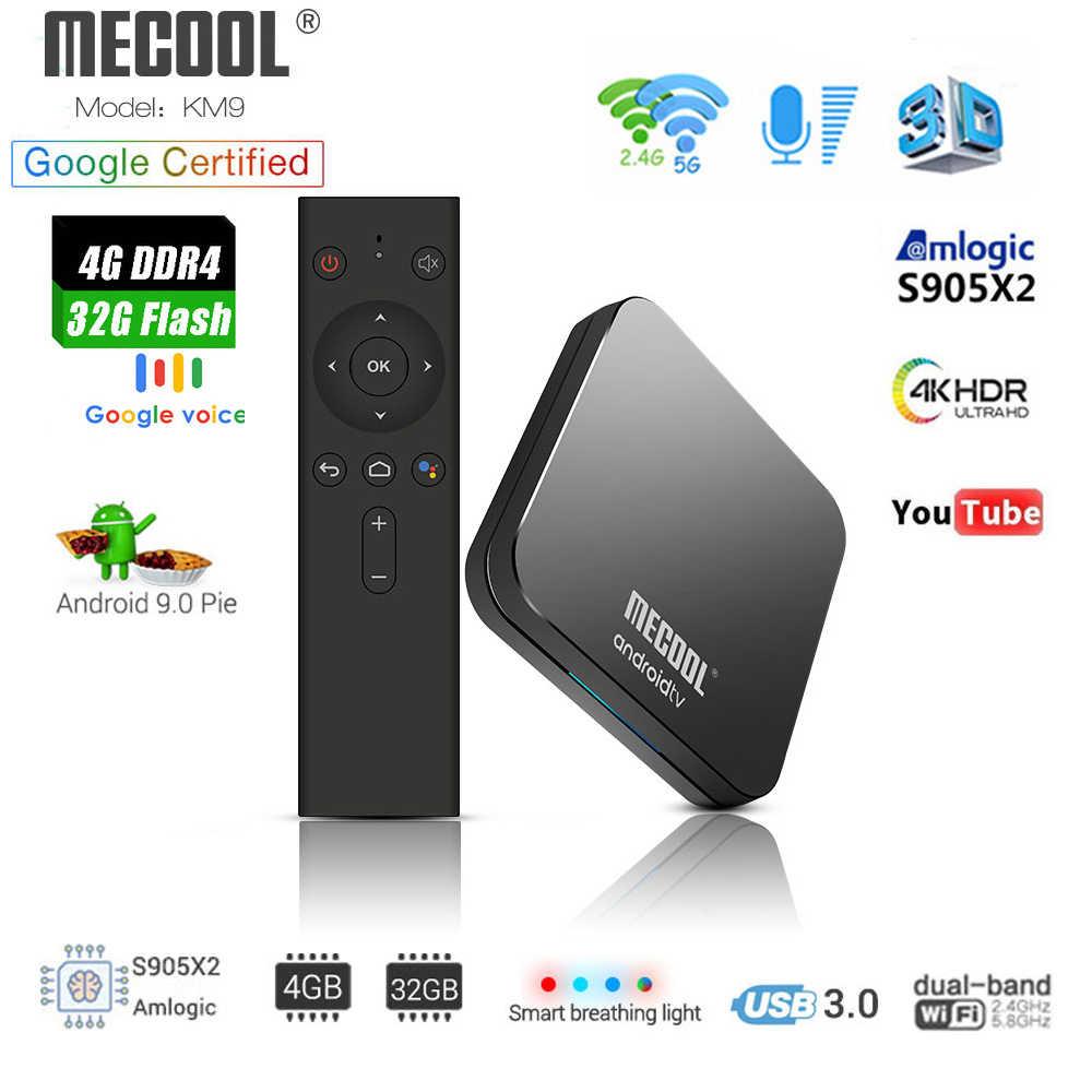 Mecool KM9 ATV Android 9.0 Smart TV Box Amlogic S905X2 Quad Core 4G DDR4 32G E MMC ROM Set top Box 4K 3D H.265 Wifi Media Player