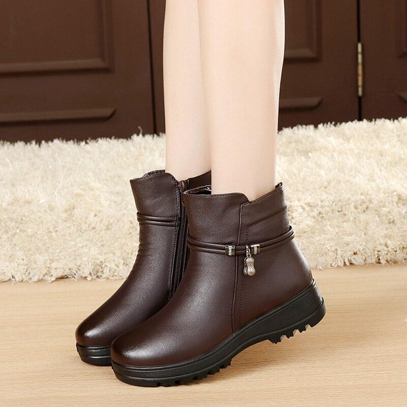 100% QualitäT Masorini Mode Winter Schuhe Frauen Echtes Leder Ankle Flache Stiefel Lässig Bequeme Warme Frauen Schnee Stiefel W-266 Mit Traditionellen Methoden