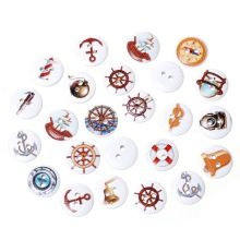 100Pcs Mixed Round Anchor Helm Steamship Theme 2 Holes Wooden Sewing Buttons Wood Ornaments Scrapbook 15mm