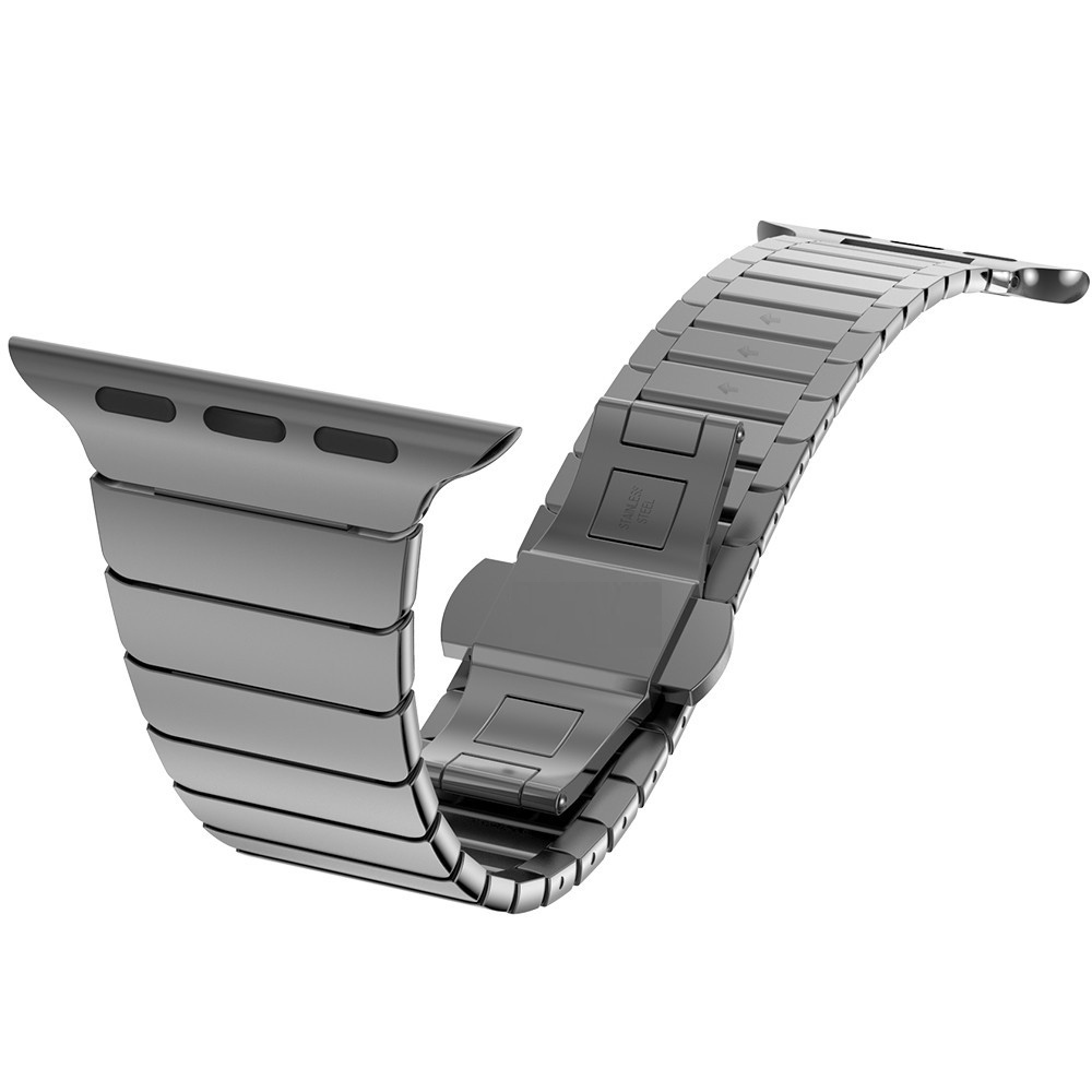 High Quality Butterfly Clasp Lock Link Loop Band for Apple Watch Band Link Bracelet Stainless Steel Strap 38mm 42mm for Iwatch image