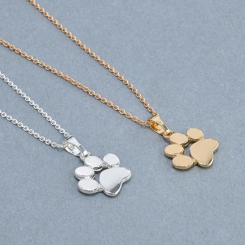 Модные милые домашние Товары для собак Следы Paw цепи кулон Цепочки и ожерелья Ожерелья и Подвески Украшения для Для женщин свитер Цепочки и ожерелья