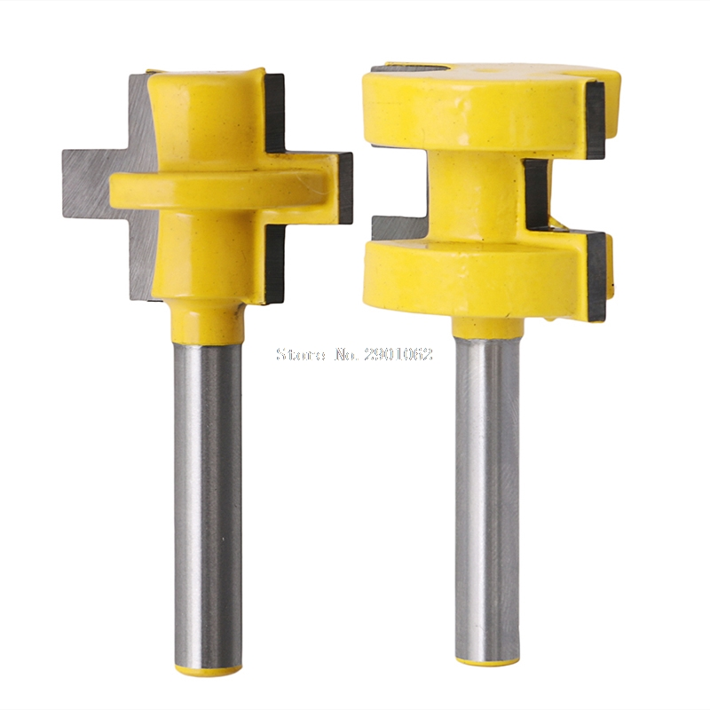2Pcs 1/4'' Shank Tongue & Groove Router Cutter Tenon Line Bit Woodworking Tool -B119 2pcs 1 4 shank tongue