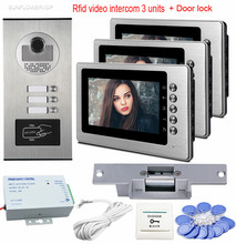 Big discount 7″ Color Video Door Phone Intercom Door Rfid Camera For 3 Apartment Family Door Video Call With Electric Strike Lock System Unit