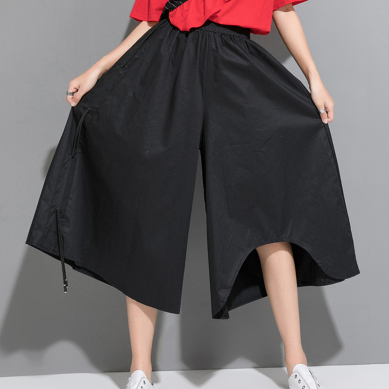 LANMREM 2019 Autumn New Casual Fashion Women Loose Plus Solid Color Drawstring Seven-point   Wide     Leg     Pants   TC622