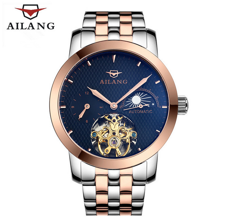 Luxury AILANG Brand Men Tourbillon Automatic Watches Self-wind Moon Phase Businessmen Dress Wrist watch Full Steel Relojes W070 tevise men automatic self wind mechanical wristwatches business stainless steel moon phase tourbillon luxury watch clock t805d
