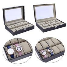 12 24 сетки PU дисплей для часов кожаный ящик высокого класса коробка для часов окно деревянная коробка для часов замок с надписью 12 Сетка ювелирные изделия женские часы Чехол
