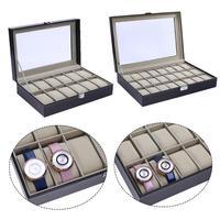 12 24 Grids PU Leather Watch Display Box High end Watch Box window wooden watch box word lock 12 grid Jewelry Female Clock Case