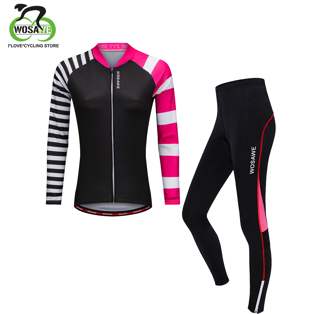 WOSAWE Cycling Jersey Set 2019 Women Spring Long Sleeve Roupa Ciclismo Bike Clothes 3D Breathable Gel Pad Bicycle Clothing Pants
