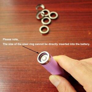 Image 5 - 100 יח\חבילה 18650 סוללת ליתיום הגנת לוח נירוסטה טבעת כובע הגנת סוללה לוח גומי כרית בסיס גומי טבעת