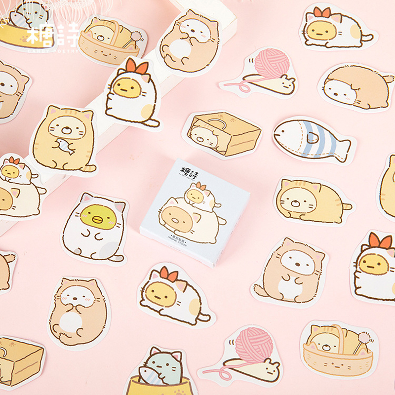 45pcs/pack Kawaii Cat DIY Decorative Stickers Bottle Sealing Decor Stick Label