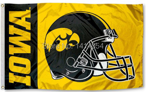 Iowa Hawkeyes Football Helmet Flag150X90CM NCAA 3X5FT Banner 100D Polyester grommets custom009, free shipping