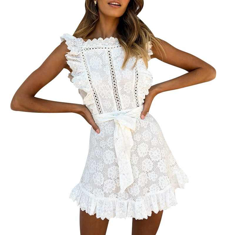 b1aced756d Simplee Elegant embroidery lace women dress Hollow out sashes ruffle white  summer dress Slim sexy party