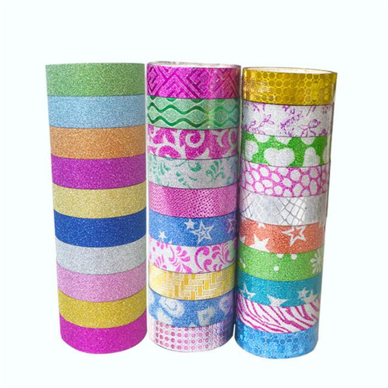 10 Rolls/lot Glitter Solid Washi Tape Sticker PVC Masking Adhesive Office School Students Tape For DIY Decorative Random Color
