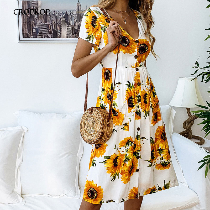 Women <font><b>Floral</b></font> <font><b>Print</b></font> Summer <font><b>Dress</b></font> <font><b>Boho</b></font> <font><b>Dress</b></font> Casual Sunflower Button Long Sundress New <font><b>Sexy</b></font> <font><b>V</b></font>-neck <font><b>Short</b></font> Sleeve <font><b>Beach</b></font> <font><b>Dress</b></font> image
