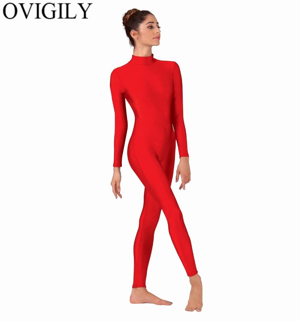 OVIGILY Women Mock Neck Long Sleeve Unitards Shiny Spandex Lycra Full Body Unitard Dancewear Black Gymnastics Bodysuits For Mens